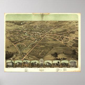 Mapa panorámico antiguo de Pontiac Michigan 1867 Póster