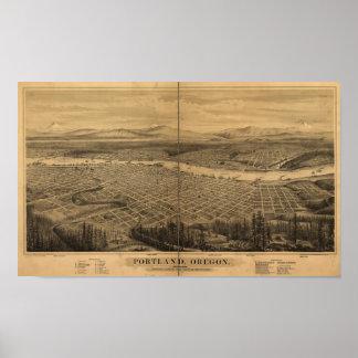 Mapa panorámico antiguo de Portland Oregon 1879 Póster