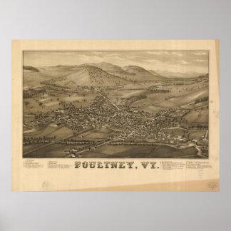Mapa panorámico antiguo de Poultney Vermont 1886 Póster