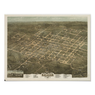 Mapa panorámico antiguo de Raleigh N. Carolina Póster