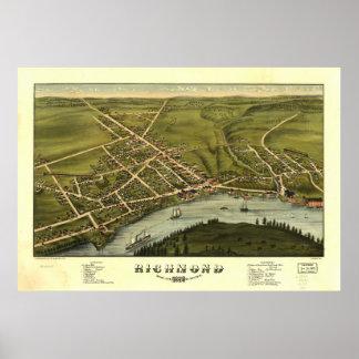 Mapa panorámico antiguo de Richmond Maine 1878 Póster