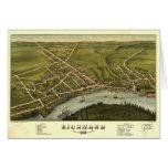 Mapa panorámico antiguo de Richmond Maine 1878 Tarjeta