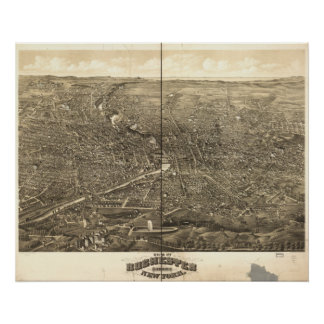 Mapa panorámico antiguo de Rochester Nueva York 18 Póster