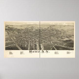 Mapa panorámico antiguo de Roma Nueva York 1886 Póster