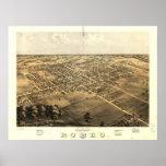 Mapa panorámico antiguo de Romeo Michigan 1868 Posters