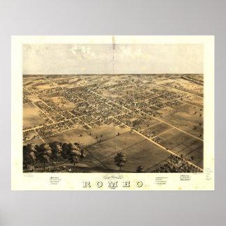 Mapa panorámico antiguo de Romeo Michigan 1868 Póster