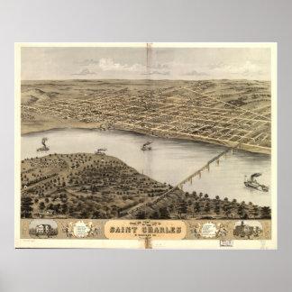Mapa panorámico antiguo de San Carlos Missouri 186 Posters