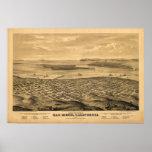 Mapa panorámico antiguo de San Diego California 18 Posters