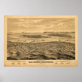 Mapa panorámico antiguo de San Diego California 18 Póster