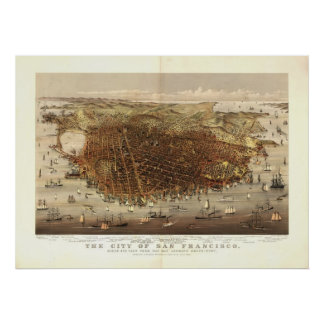 Mapa panorámico antiguo de San Francisco CA 1878 Poster