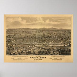 Mapa panorámico antiguo de Santa Rosa California 1 Poster