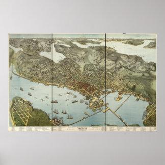 Mapa panorámico antiguo de Seattle Washington 1891 Póster