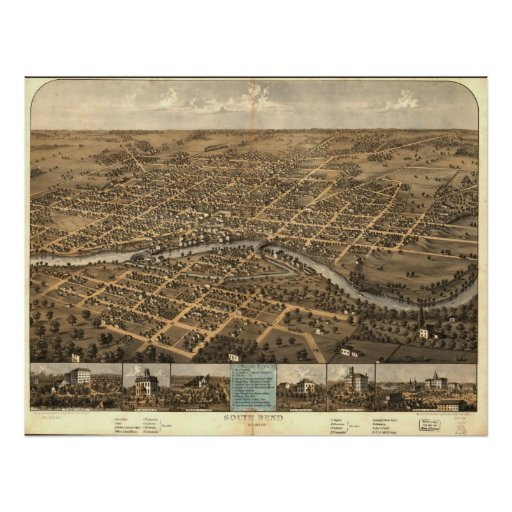 Mapa panorámico antiguo de South Bend Indiana 1866 Poster