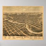 Mapa panorámico antiguo de South Bend Indiana 1874 Impresiones