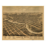 Mapa panorámico antiguo de South Bend Indiana 1874 Poster