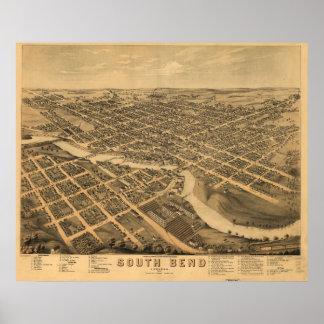 Mapa panorámico antiguo de South Bend Indiana 1874 Póster