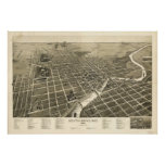 Mapa panorámico antiguo de South Bend Indiana 1890 Posters