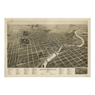 Mapa panorámico antiguo de South Bend Indiana 1890 Póster