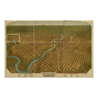 Mapa panorámico antiguo de Spokane Washington 1905 Póster