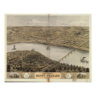 Mapa panorámico antiguo de St Charles Missouri 186 Posters