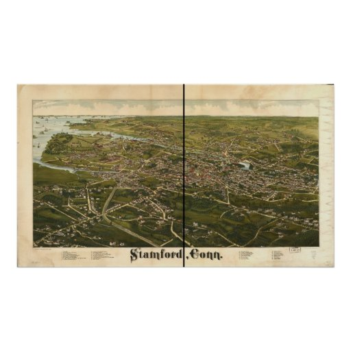 Mapa panorámico antiguo de Stamford Connecticut 18 Póster