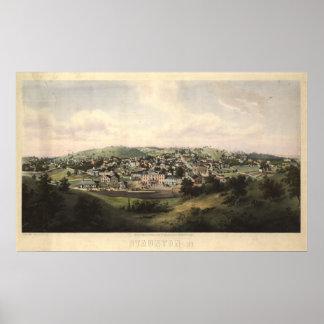Mapa panorámico antiguo de Staunton Virginia 1857 Póster