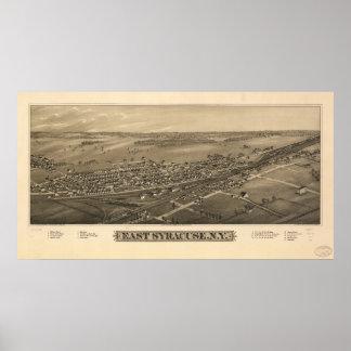 Mapa panorámico antiguo de Syracuse Nueva York 188 Poster