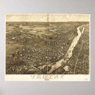 Mapa panorámico antiguo de Troy Nueva York 1881 Póster