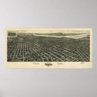 Mapa panorámico antiguo de Tulsa Oklahoma 1918 Póster