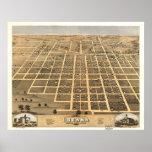 Mapa panorámico antiguo de Urbana Illinois 1869 Impresiones