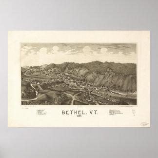 Mapa panorámico antiguo de Vermont 1886 del Bethel Póster