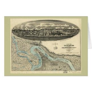 Mapa panorámico antiguo de Vicksburg Mississippi 1 Tarjeta De Felicitación
