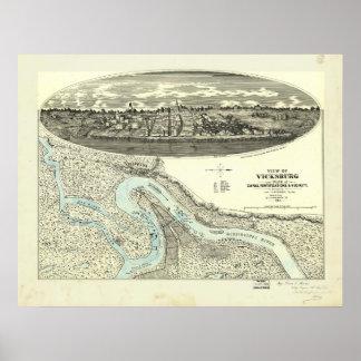 Mapa panorámico antiguo de Vicksburg Mississippi Póster