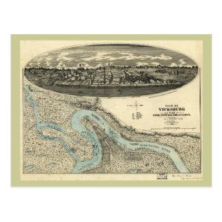 Mapa panorámico antiguo de Vicksburg Mississippi Postales