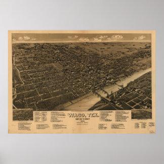 Mapa panorámico antiguo de Waco Tejas 1886 Póster