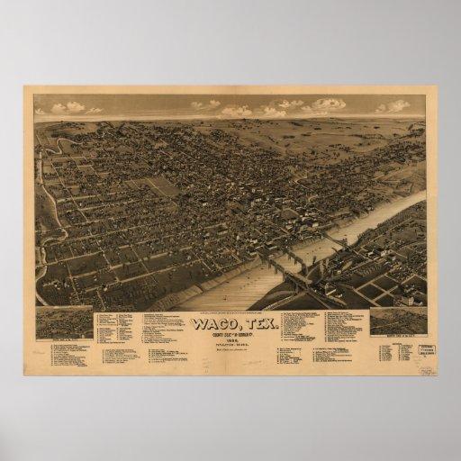 Mapa panorámico antiguo de Waco Tejas 1886 Posters