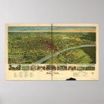 Mapa panorámico antiguo de Waco Tejas 1892 Impresiones