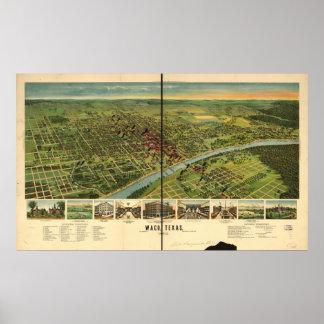 Mapa panorámico antiguo de Waco Tejas 1892 Póster