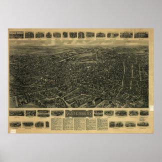 Mapa panorámico antiguo de Waterbury Connecticut 1 Póster