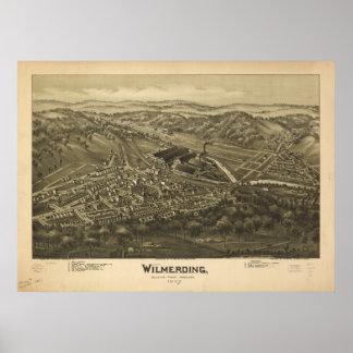Mapa panorámico antiguo de Wilmerding Pennsylvania Póster
