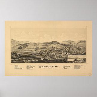 Mapa panorámico antiguo de Wilmington Vermont 1891 Impresiones