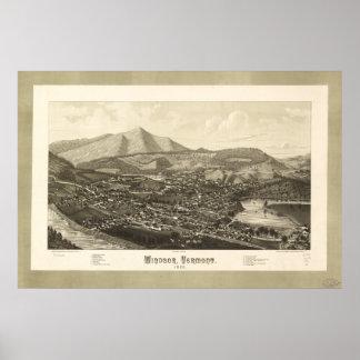 Mapa panorámico antiguo de Windsor Vermont 1886 Póster
