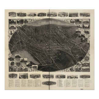 Mapa panorámico antiguo de Winsted Connecticut 190 Póster