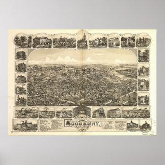 Mapa panorámico antiguo de Woodbury New Jersey Póster