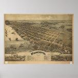 Mapa panorámico antiguo de Wyandotte Michigan 1896 Poster