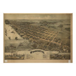 Mapa panorámico antiguo de Wyandotte Michigan 1896 Impresiones
