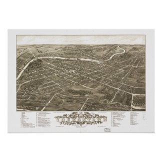 Mapa panorámico antiguo de Youngstown Ohio 1882 Póster