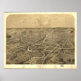 Mapa panorámico antiguo de Ypsilanti Michigan 1868 Poster