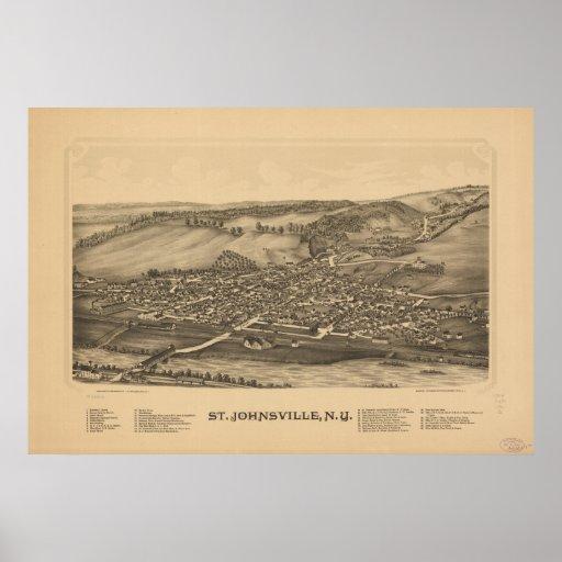 Mapa panorámico antiguo del St Johnsville Nueva Yo Poster