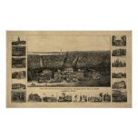 Mapa panorámico antiguo del Washington DC 1860 Poster